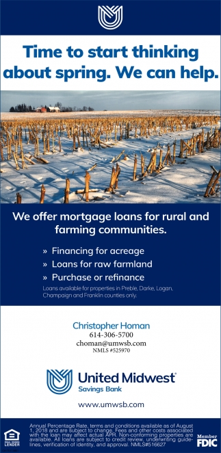 We offer mortgage loans for rural and farming communities