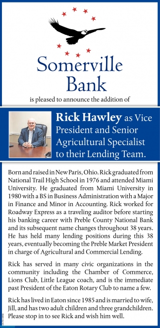 Announce the addition of Rick Hawley