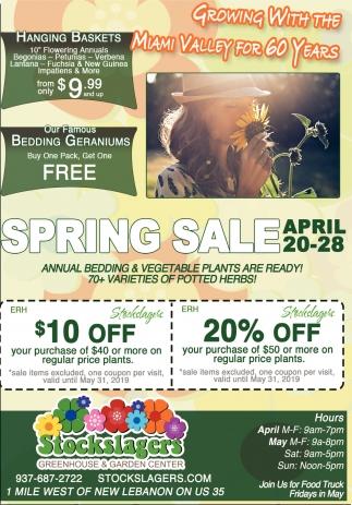 Spring Sale april 20 - 28