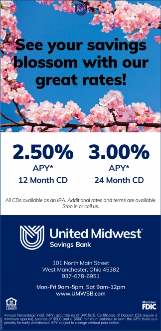 See your savings blossom with our great rates!