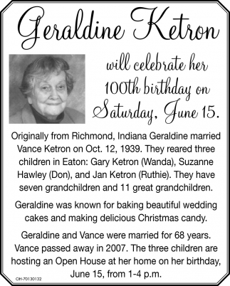 Geraldine Ketron will celebrate her 100th birthday