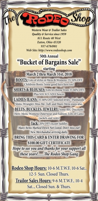 50th Annual Bucket of Bargains Sale