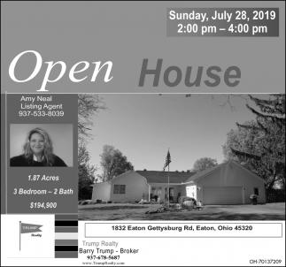 Open House July 28 - 1832 Eaton Gettysburg Rd., Eaton