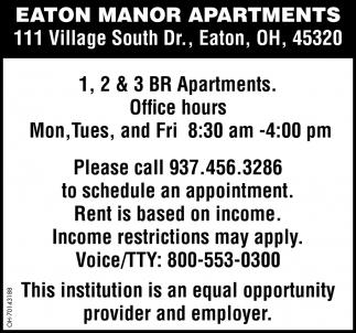 1, 2 & 3 BR Apartments, Eaton Manor Apartments, Eaton, OH