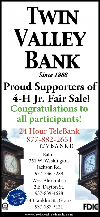 Proud Supporters of 4-H Jr. Fair Sale!