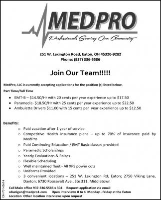 EMT-B | Paramedic | Ambulette Drivers