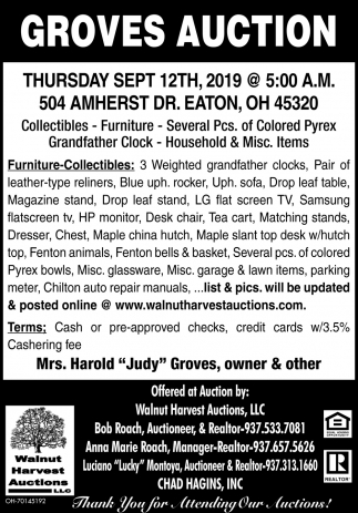 Groves Auction - Sept 12th
