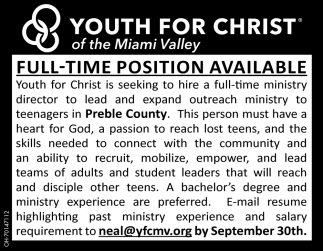 Full Time Position Available