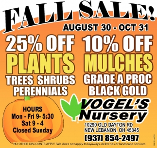 Fall Sale! August 30 - October 31