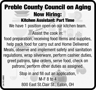 Now Hiring - Kitchen Assistant