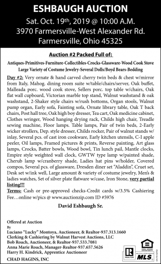 Eshbaugh Auction - Oct. 19th