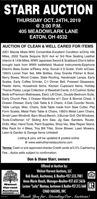 Starr Auction - Oct. 24th