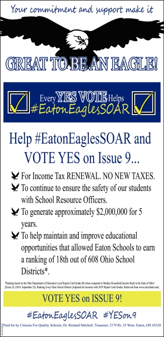 Every Yes Vote Helps #EatonEaglesSoar