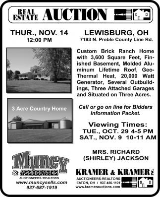 Real Estate auction . Nov. 14