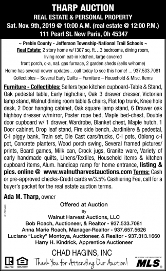 Tharp Auction - Real Estate & Personal Property - Nov. 9th