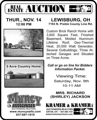 Real Estate Auction - Nov. 14