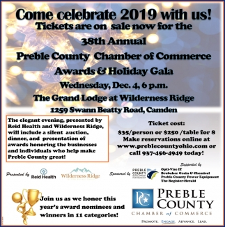 38th Annual Preble County Chamber of Commerce Awards & Holiday Gala