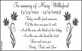 In memory of Mary Villeford