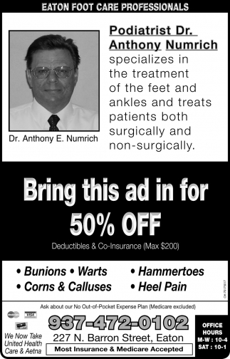 Bring this ad in for 50% off