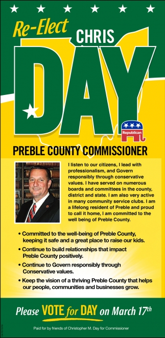 Re-Elect Chris Day for Preble County Commissioner