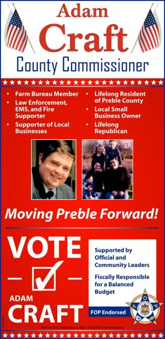 Vote Adam Craft for Preble County Commissioner