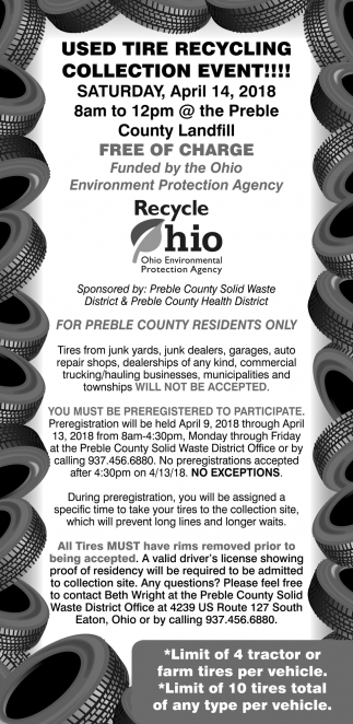 Used Tire Reclyclin Collection Event