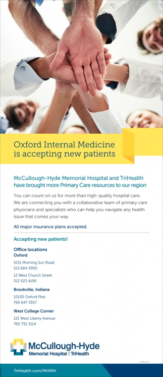 Oxford Internal Medicine is accepting new patients