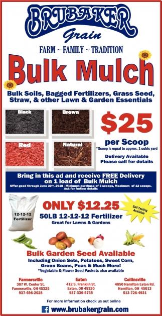 Bulk Soils, Bagged Fertilizers, Grass Seed, Straw