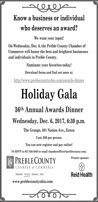 Holiday Gala 36th Annual Awards Dinner