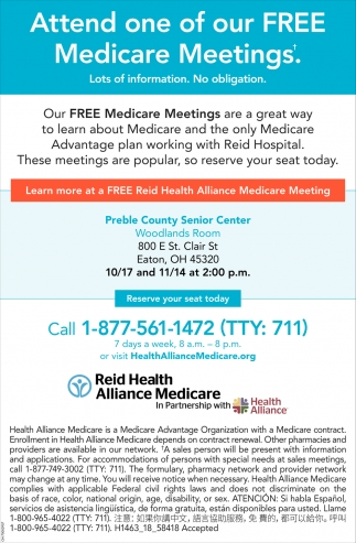 Attend one of our FREE Medicare Meetings