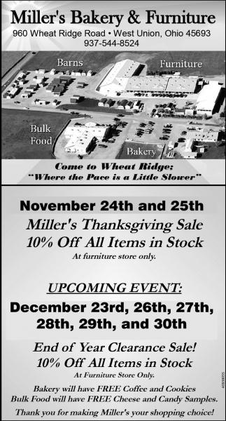 Miller's Thanksgiving Sale