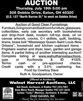 Auction of Good Clean Furnishings