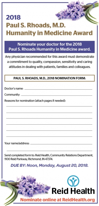 2018 Paul S. Rhoads, M.D. Humanity in Medicine Award