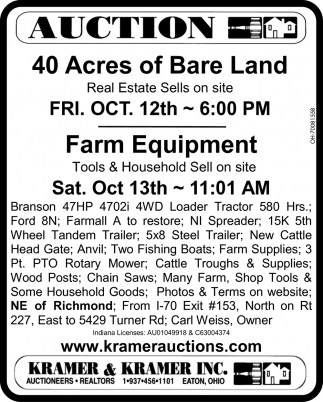 40 Acres of Bare Land - Farm Equipment