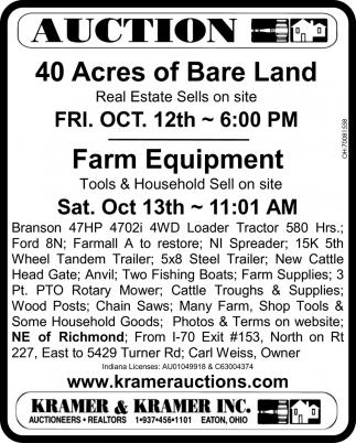 40 Acres of Bare Land - Farm Equipment