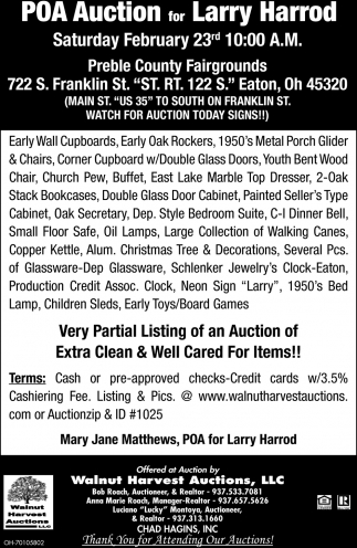 POA Auction for Larry Harrod