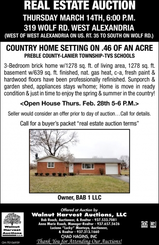Real Estate Auction March 14